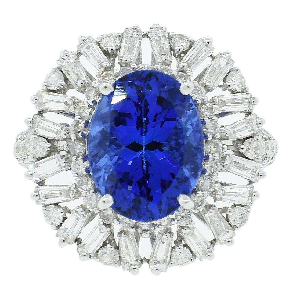 products gia tanzanite ring blue halo diamonds royal certified natural