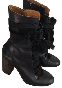 Chlo Leather Lace Up Chunky Black with Wooden Heel Boots