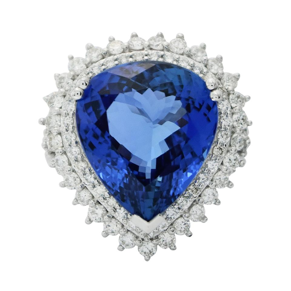 ring gia tanzanite cushion natural sapphire pin certified blue diamonds