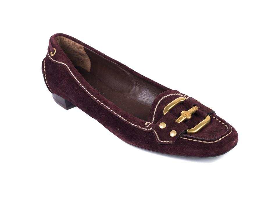 49d1d3015b5 The Original Car Shoe Burgundy Womens Suede Logo Buckled Loafers ...