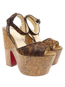 Christian Louboutin Platforms Pony Hair Brown Wedges