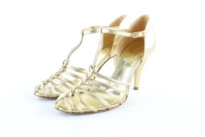 fb608aac69ebf7 Chanel Open Toe Mules Kitten Strappy GOLD Sandals