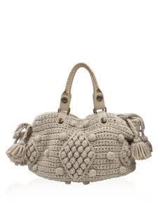 GERARD DAREL Yarn Knit Crochet Leather Tote in Taupe