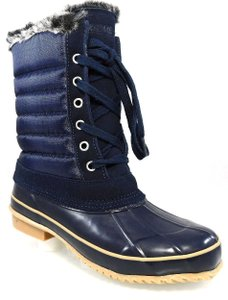 Khombu Water-resistant Rubber Winter Lace Navy Boots