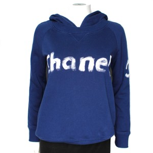 Chanel Logo Hoodie Painted Navy Sweater