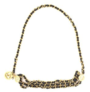 Chanel #15203 CC triple long chain gold black leather necklace belt two way