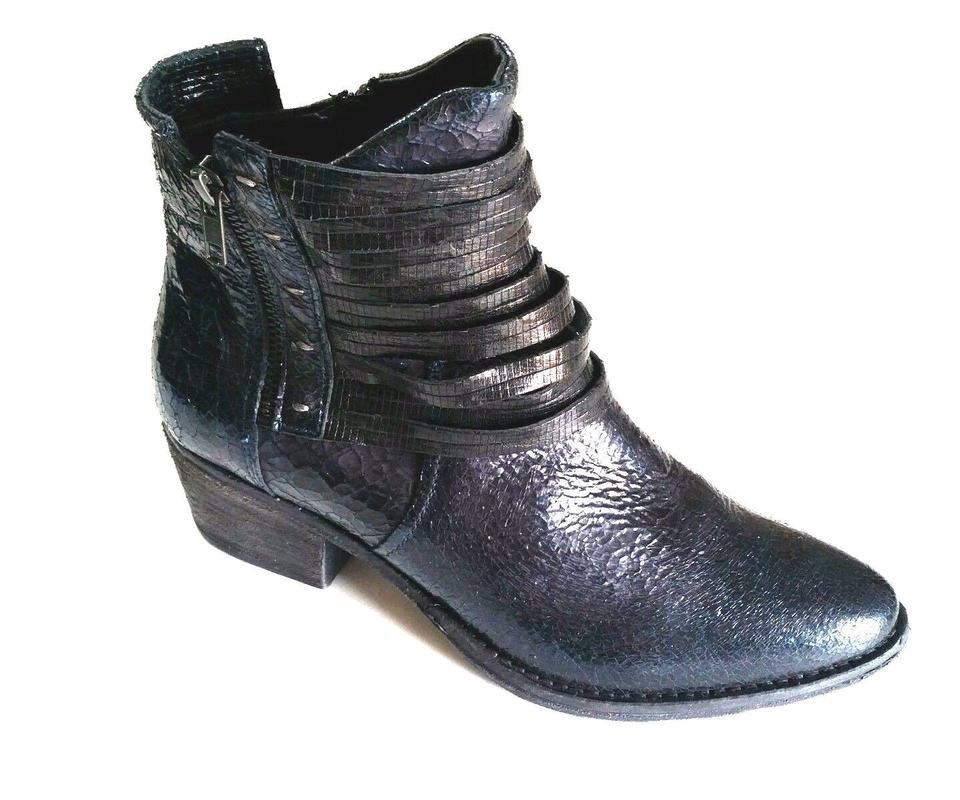 Blue Braten Crackle Ankle Leather Ankle Crackle Black Boots/Booties 660d04