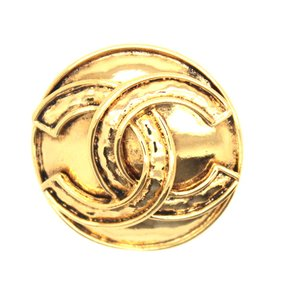 Chanel #15207 CC Disc gold hardware brooch pin charm