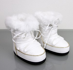 Gucci White W Kids Unisex Fur Trim Boot W/Interlocking G 30/ Us 12.5 298369 Shoes