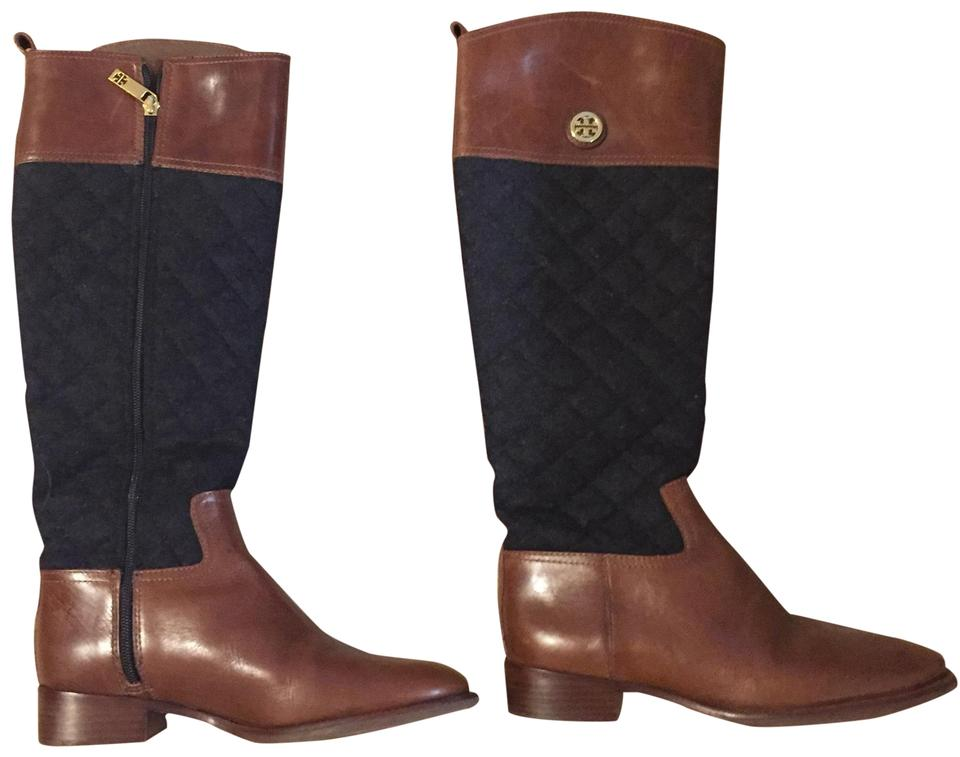 Tory Burch Tone Navy & Brown Two Tone Burch Boots/Booties 8e9473