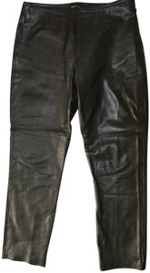 Moda International Designer Rider Straight Pants Black Leather