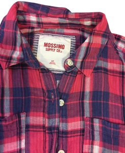 Mossimo Supply Co Button Down Shirt Pink, blue and grey Plaid