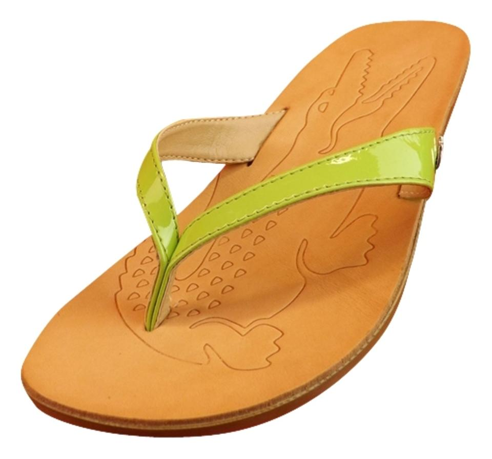 1b191d4d3 Lacoste Green   Acacia New Patent Leather Kitten Heel Thong Flip Flops  Italy Sandals