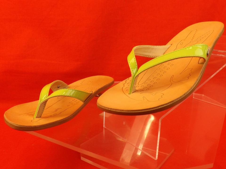 d87ffb9f9 Lacoste Green   Acacia New Patent Leather Kitten Heel Thong Flip Flops  Italy Sandals Size US 6 Regular (M
