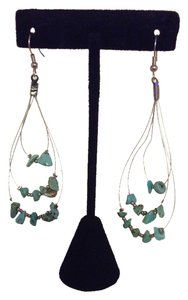 Unknown Hoop Style Earrings with Turquoise Chips