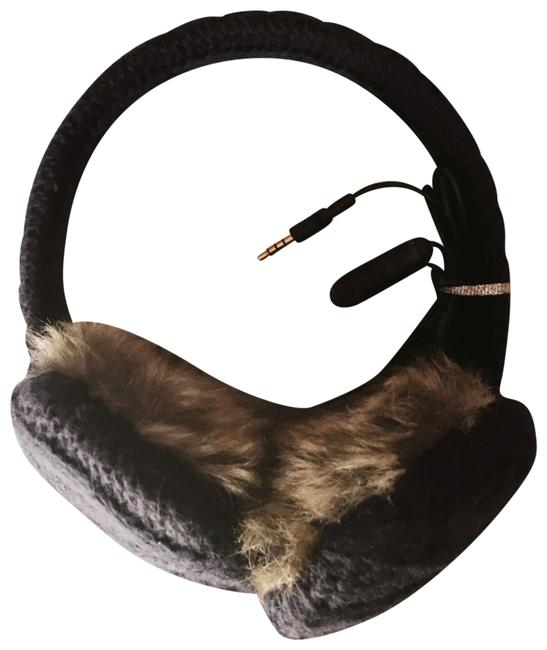 Item - Navy and Brown Faux Fur Earmuffs with Removable Headphones Tech Accessory