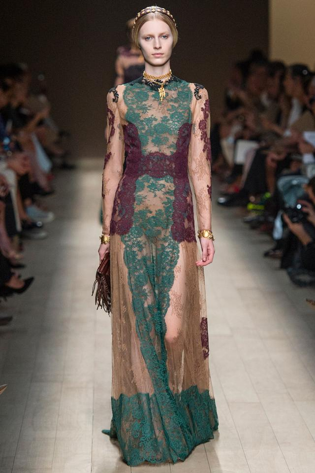 Valentino Multicolor New Mysterious Silhouette French Lace Gown Long ...