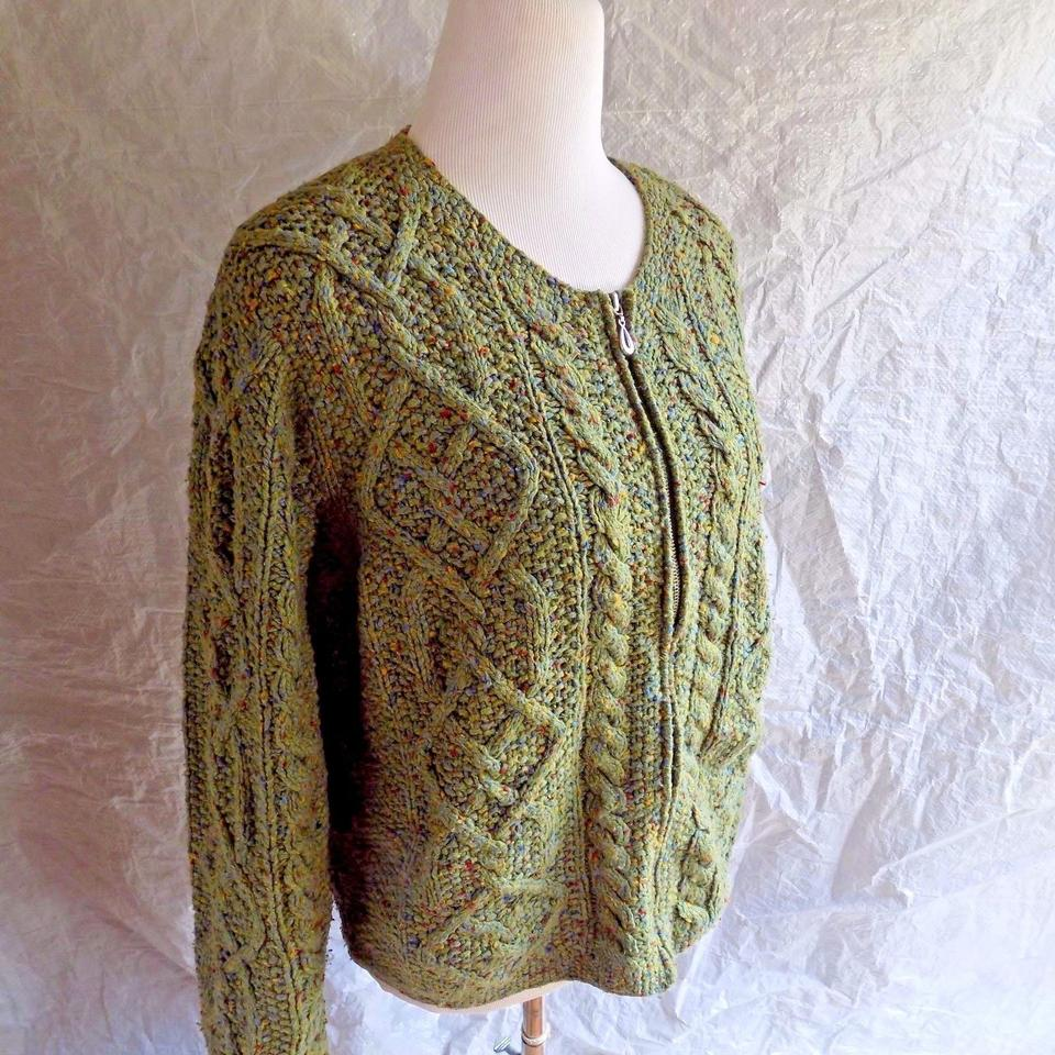 2bd8b52e88fca ORVIS Green Zip Front Multi-color Fleck Scoop Neckline Cable Knit Chunky  Cardigan Size 10 (M) - Tradesy