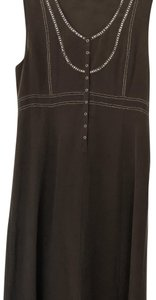 brown Maxi Dress by Theory Silk Mid Length Studded