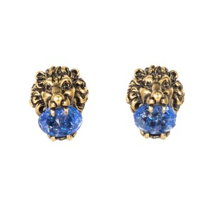 Gucci Gucci Brass Lion's Head & Crystal Earrings