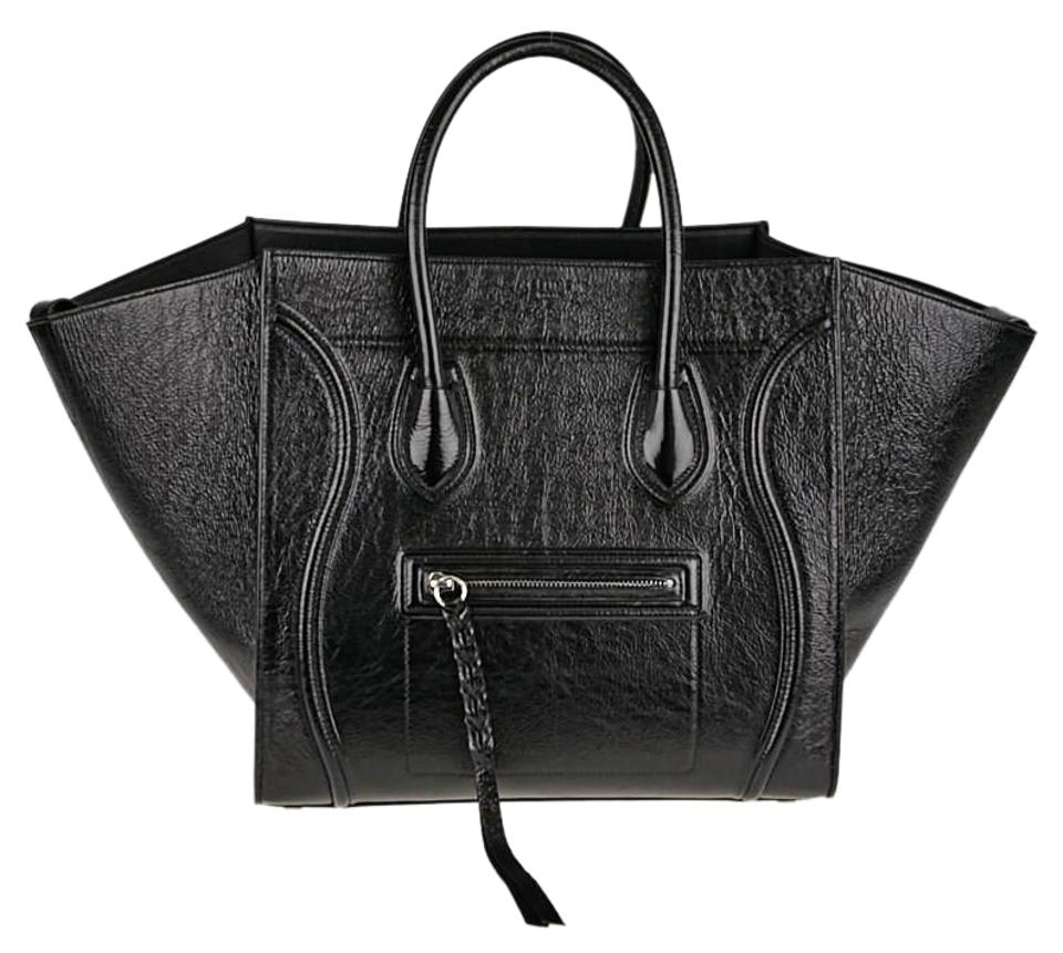 a3252fb56e4a Céline Cabas Phantom Luggage Medium Shiny Black Goatskin Leather Tote