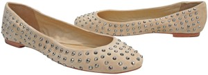 Juicy Couture Ballet Studded Kid Suede Nude Blush Flats