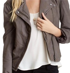 LINE gray Leather Jacket