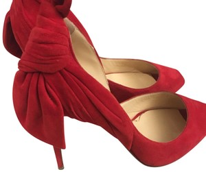Christian Louboutin Bow Suade Sexy Red Formal
