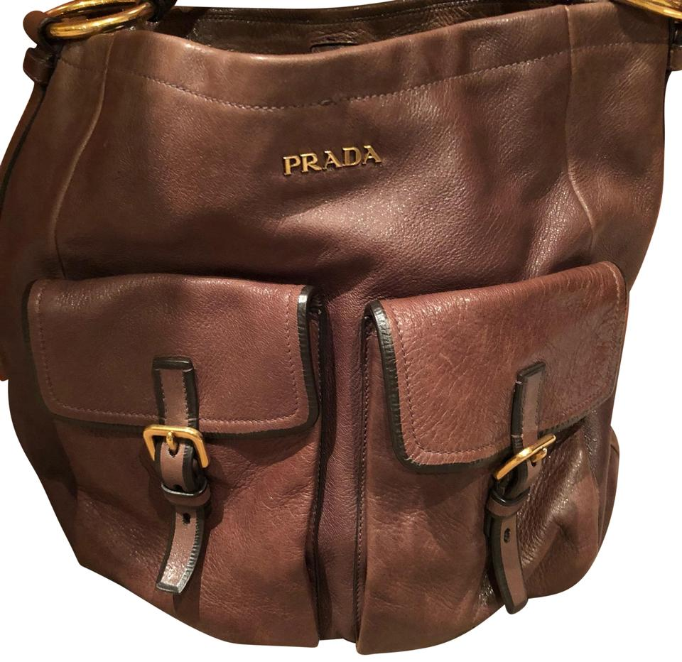 e74fd44c789 Prada Two Outside Large Buckle Pockets Brown with Black Trim Leather Hobo  Bag