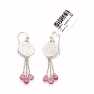 GURHAN 17856 - LUSH HUES Pink Tourmaline Sterling Disc Drop Dangle Earrings