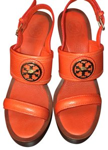 Tory Burch orange with brown wedge Wedges