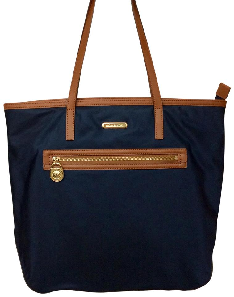 Michael Kors Nylon Saffiano Leather Tote In Navy