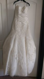 Enzoani Magnolia (Cream) Dupioni & Lace Ellen Traditional Wedding Dress Size 2 (XS)