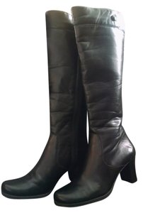 Naturalizer Stacked Heel Knee Faux Leather Tall black Boots