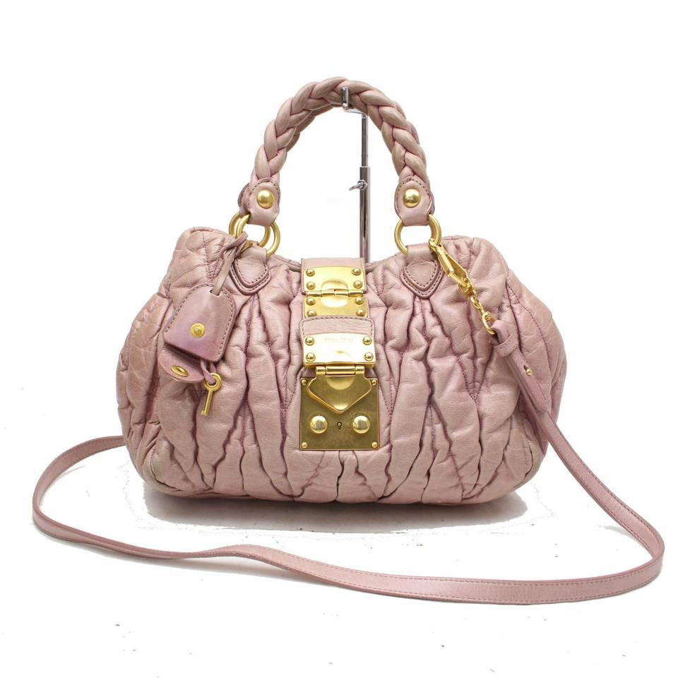 115cd410da6 Miu Miu Quilted 2way Braided Handle 370312 Pink Leather Shoulder Bag ...
