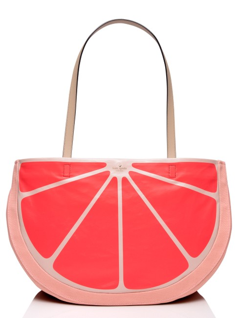 Kate Spade Flights Of Fancy Grapefruit Pink Multi Canvas with Sailing Stripe and Smooth Cowhide Trim Tote Kate Spade Flights Of Fancy Grapefruit Pink Multi Canvas with Sailing Stripe and Smooth Cowhide Trim Tote Image 1