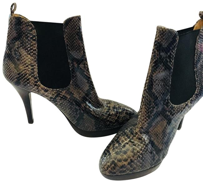 Item - Black and Brown Snakeskin Boots/Booties Size US 8 Regular (M, B)