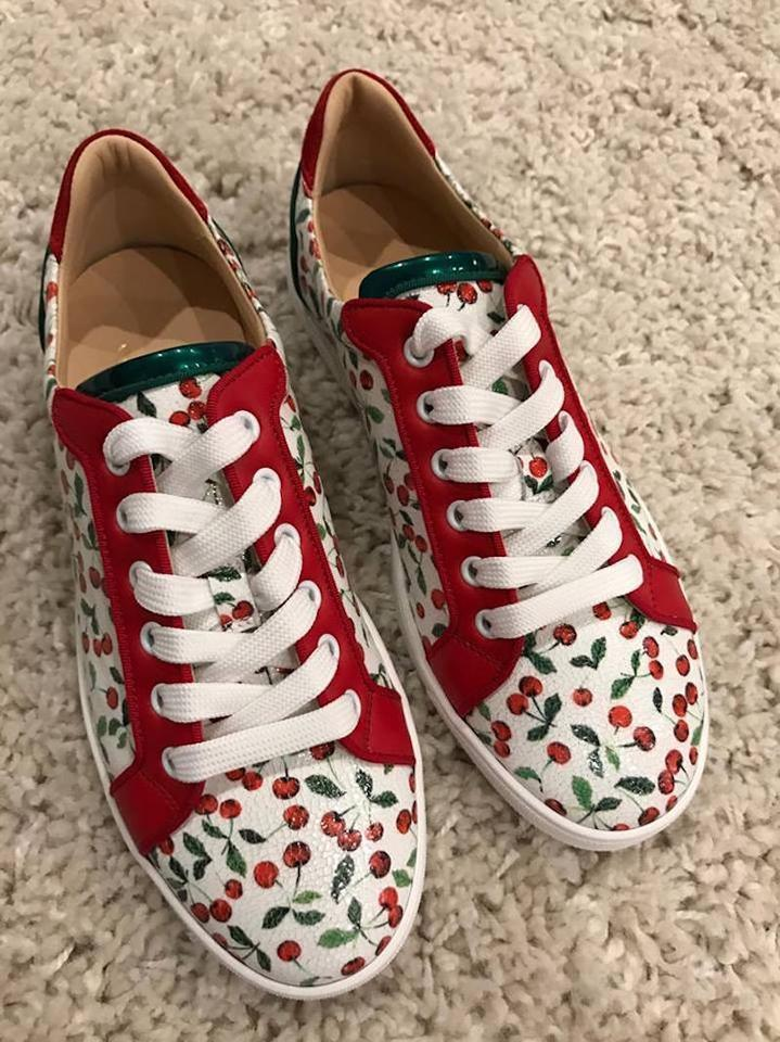Lace Seava Up Louboutin Low Flat Christian White Sneaker Cherry Sneakers Top Red p8qwfHw