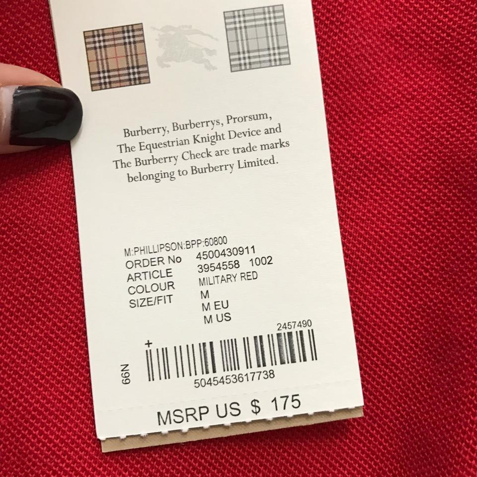 Burberry Brit Military Red Men\'s Phillipson Polo Tee Shirt Size 8 (M ...