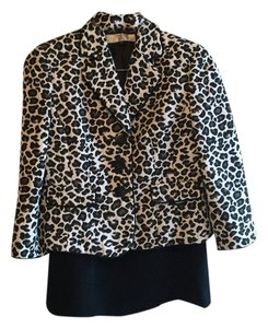 Tahari Black and white leopard print suit