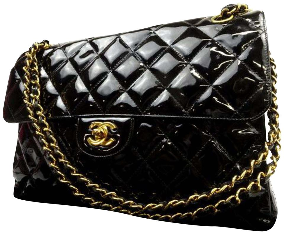 aae2772f076fb9 Chanel Classic Double Jumbo Quilted Flap 223006 Black Patent Leather ...