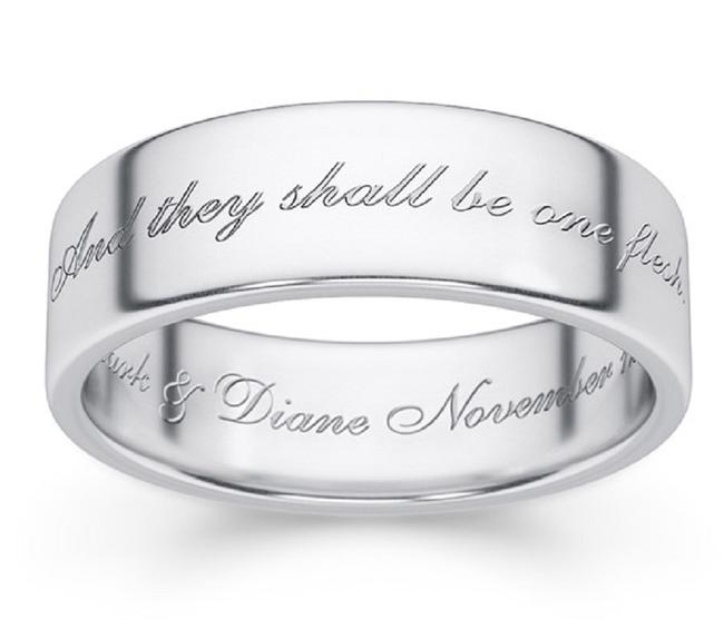 Item - Silver One Flesh Band In 14k White Ring