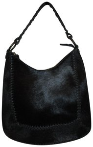 Antonio Melani Leather Cow Fur Whip Stitch Shoulder Bag