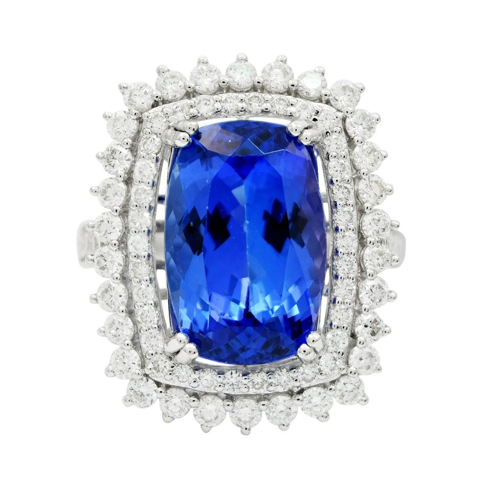 tanzanite blue products diamonds certified gia halo natural royal ring