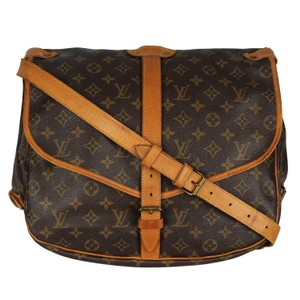 Louis Vuitton Saumur 35 Monogram Canvas Leather Brown Messenger Bag