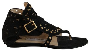 Jimmy Choo Black Suede/Gold Hardware Sandals