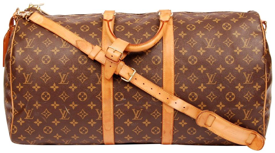 593f13d2dd38 Louis Vuitton Keepall 55 with Strap Brown 5335 Canvas Weekend Travel ...