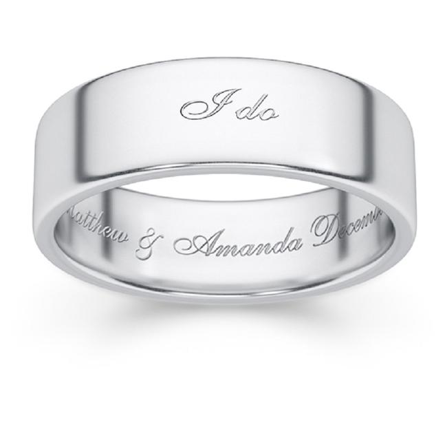 """Item - Silver Personalized """"I Do"""" White Band Ring"""