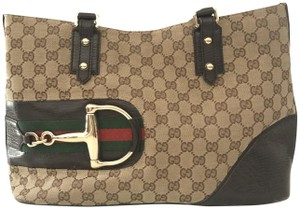 Gucci Horsebit Monogram Leather Tote in Brown/ Red/ Green/ Gold