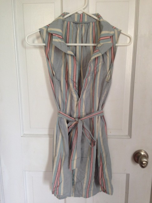 Item - Light Blue with Pink and Beige Stripes Tunic Size 4 (S)